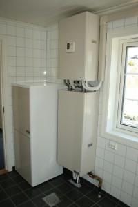 Vannbåren varmepumpe ferdig installert i et våtrom på Sørlandet